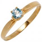 Damen Ring 585 Gold Gelbgold 1 Aquamarin hellblau blau Aquamarinring
