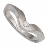 Damen Ring 950 Platin matt 1 Diamant Brillant 0, 08ct. Platinring