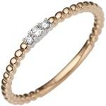 Damen Ring schmal 585 Gold Rotgold Weißgold bicolor 3 Diamanten Brillanten