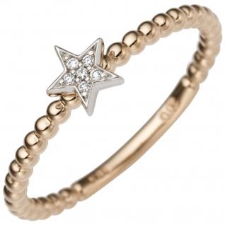 Damen Ring Stern 585 Gold Rotgold Weißgold bicolor 6 Diamanten Brillanten