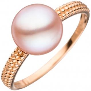 Damen Ring 585 Gold Rotgold 1 rosa Süßwasser Perle Goldring Perlenring