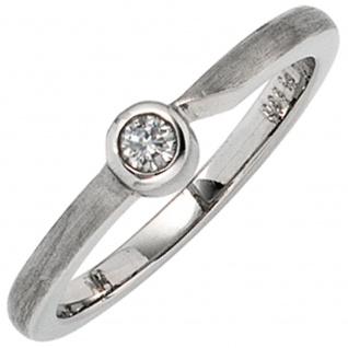 Damen Ring 950 Platin matt 1 Diamant Brillant 0, 08 ct. Platinring