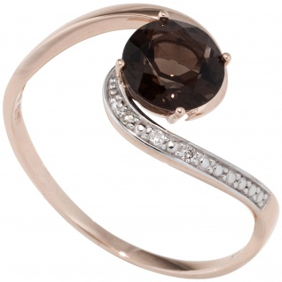 Damen Ring 585 Rotgold 1 Rauchquarz braun 3 Diamanten Brillanten