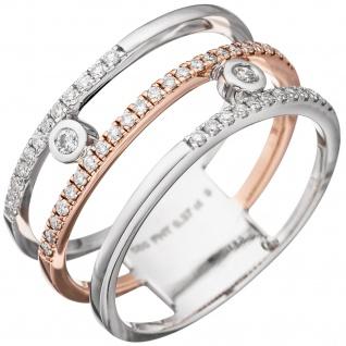 Damen Ring breit 585 Gold Weißgold Rotgold bicolor 49 Diamanten Brillanten