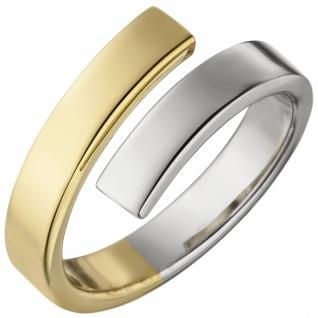 Damen Ring offen 925 Sterling Silber bicolor vergoldet Silberring