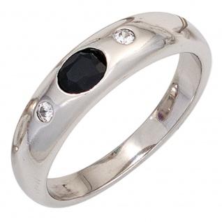 Damen Ring 925 Sterling Silber rhodiniert 1 Safir blau 2 Zirkonia Silberring