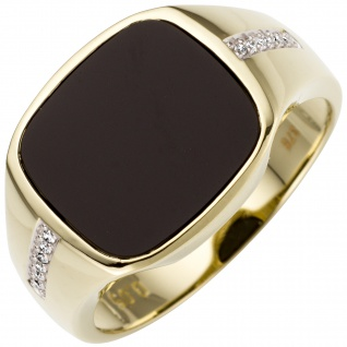 Herren Ring 585 Gold Gelbgold bicolor 12 Diamanten Brillanten 1 Onyx Herrenring