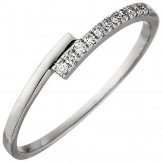 Damen Ring 585 Gold Weißgold 11 Diamanten Brillanten 0, 08ct. Weißgoldring