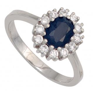 Damen Ring 925 Sterling Silber rhodiniert 1 Safir blau 12 Zirkonia Silberring
