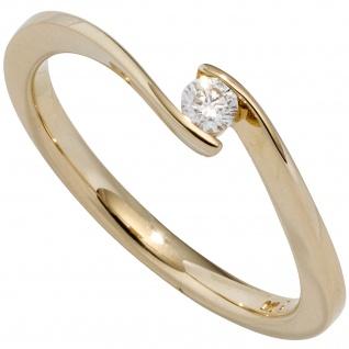 Damen Ring 585 Gold Gelbgold 1 Diamant Brillant 0, 10ct. Diamantring Goldring