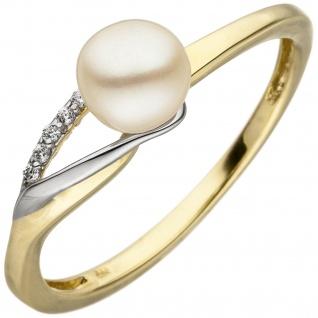 Damen Ring 333 Gelbgold Weißgold bicolor 1 Süßwasser Perle 6 Zirkonia