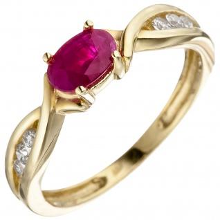 Damen Ring 333 Gold Gelbgold 1 Rubin rot 6 Zirkonia Goldring Rubinring