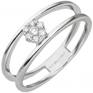 Damen Ring 585 Gold Weißgold 7 Diamanten Brillanten Weißgoldring
