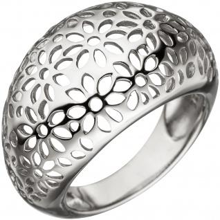 Damen Ring breit mit Blumen Muster 925 Sterling Silber Silberring