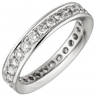 Damen Memory-Ring 585 Gold Weißgold mit Diamanten Brillanten rundum