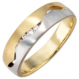 Damen Ring 585 Gold Gelbgold Weißgold bicolor matt 3 Diamanten Brillanten