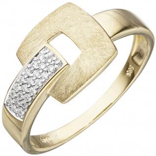 Damen Ring 585 Gold Gelbgold eismatt 22 Diamanten Brillanten