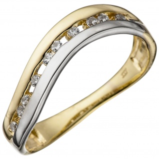 Damen Ring 333 Gold Gelbgold Weißgold bicolor mit Zirkonia Goldring