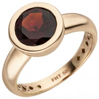Damen Ring 585 Gold Rotgold 1 Granat rot Goldring Granatring