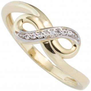 Damen Ring Unendlichkeit Unendlich 333 Gold Gelbgold bicolor mit Zirkonia