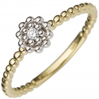 Damen Ring Blume 585 Gold Gelbgold Weißgold bicolor 1 Diamant Brillant Goldring