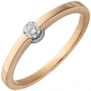 Damen Ring 585 Gold Rotgold 1 Diamant Brillant 0, 15ct. Diamantring