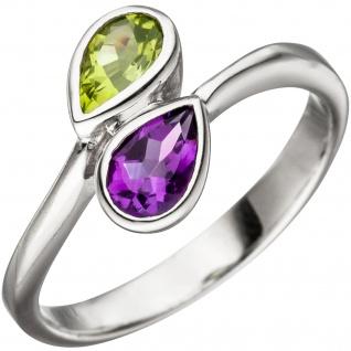Damen Ring 925 Sterling Silber 1 Amethyst lila violett 1 Peridot grün Silberring