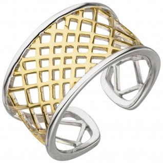 Damen Ring offen 925 Sterling Silber bicolor vergoldet