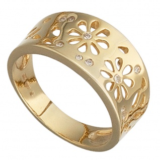 Damen Ring Blumen 585 Gold Gelbgold 10 Diamanten 0, 09ct. Goldring Blumenmuster