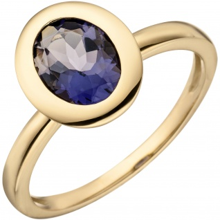 Damen Ring 585 Gold Gelbgold 1 Iolith Goldring Iolithring