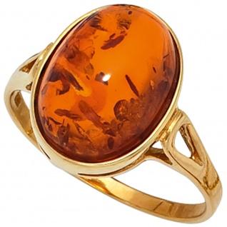 Damen Ring 375 Gold Gelbgold 1 Bernstein-Cabochon orange Bernsteinring Goldring