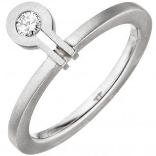 Damen Ring 950 Platin matt 1 Diamant Brillant 0, 07ct.