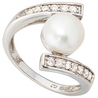 Damen Ring 925 Sterling Silber 1 Süßwasser Perle mit Zirkonia perlenring