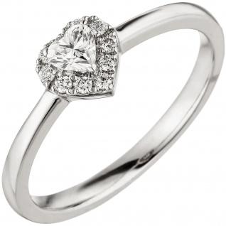 Damen Ring Herz 585 Gold Weißgold 10 Diamanten Brillanten 0, 26ct. Herzring - Vorschau