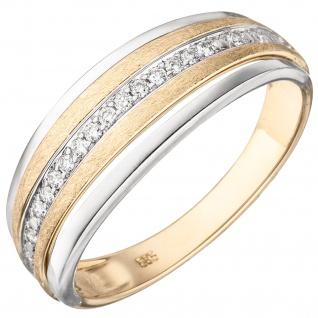 Damen Ring 585 Gelbgold Weißgold bicolor eismatt 17 Diamanten Brillanten