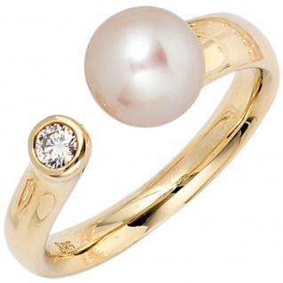 Damen Ring 585 Gold Gelbgold 1 Süßwasser Perle 1 Diamant Brillant Perlenring