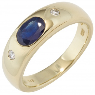 Damen Ring 585 Gold Gelbgold 1 Safir blau 2 Diamanten Brillanten Goldring