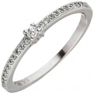 Damen Ring schmal 925 Sterling Silber 23 Zirkonia Silberring