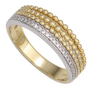 Damen Ring 585 Gold Gelbgold Weißgold bicolor 17 Diamanten Brillanten Goldring