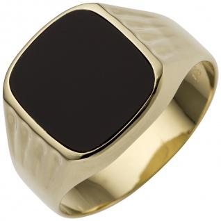 Herren Ring 585 Gold Gelbgold 1 Onyx Herrenring