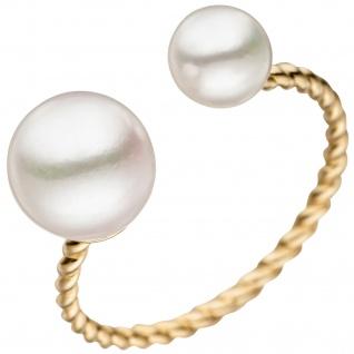 Damen Ring 585 Gold Gelbgold 2 Akoya Perlen Perlenring Goldring