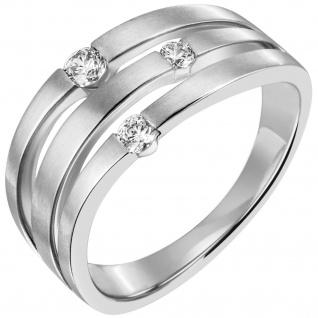 Damen Ring 585 Gold Weißgold matt 3 Diamanten Brillanten Weißgoldring