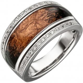 Damen Ring 925 Sterling Silber mit Emaille und Zirkonia Emaillering Silberring
