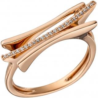 Damen Ring 585 Gold Rotgold 23 Diamanten Brillanten 0, 07ct. Rotgoldring