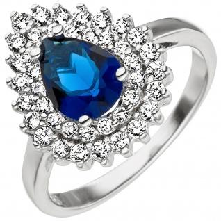 Damen Ring 925 Sterling Silber mit Zirkonia blau weiß Silberring
