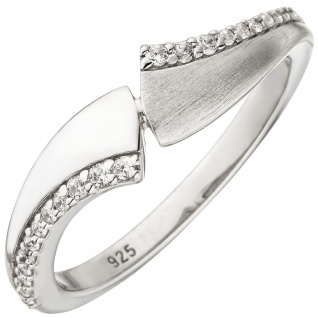 Damen Ring 925 Sterling Silber 24 Zirkonia Silberring