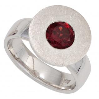 Damen Ring 925 Sterling Silber rhodiniert eismatt 1 Granat rot Silberring