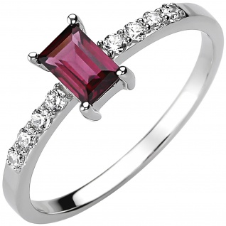 Damen Ring 925 Sterling Silber 1 Rhodolith rot 8 Zirkonia Silberring