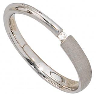Damen Ring 925 Sterling Silber rhodiniert teil matt 1 Diamant 0, 02ct. Silber