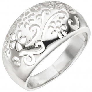 Damen Ring Blume Blumenmuster 925 Sterling Silber Silberring